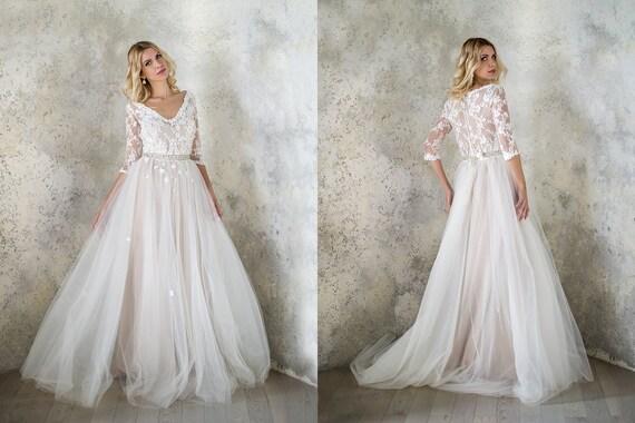 Wedding dress blush wedding dress bridal gown tulle wedding like this item junglespirit Gallery