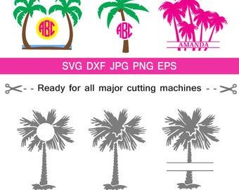 Palm Tree Monogram frames, Beach Monogram SVG,palm beach svg, for CriCut Silhouette cameo Files svg jpg png dxf