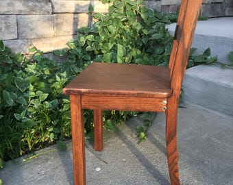 Vintage Wood Kid's Chair ~ Child's Wood Desk Chair ~ Play Table Chair
