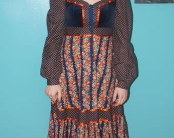 Vintage Gunne Sax Calico Floral Prairie Dress