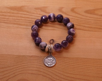 Natural Purple Faceted Amethyst Stretch Beaded Bracelet with 2 Brushed Sterling Silver Spacer Beads and Signature Sterling Silver Charm