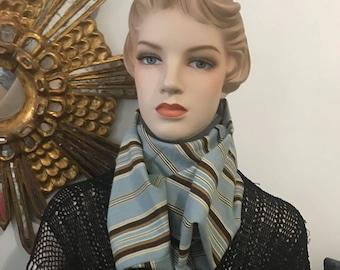 Cowl cover for hard cervical collar/neck brace (wide light blue/brown striped)