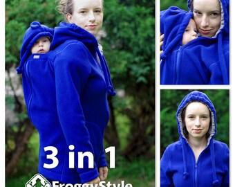 Versatile babywearing coat, 3in1 kangaroo hoodie, baby carrier jacket, fleece baby wearing maternity coat - indigo, polar