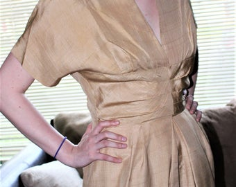 Ultimate 1940's Dramatic Silk Dress-Parisian Gold tissue thin silk ~Neckline-Delicate Exquisite Fabric and Drape! S/M