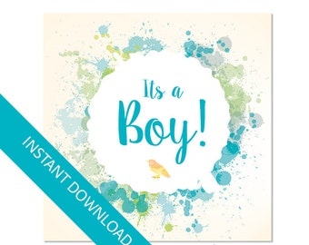 Its a boy card, Baby shower card, printable card, pdf and jpg instant download, Printable card, Digital card for baby Boy
