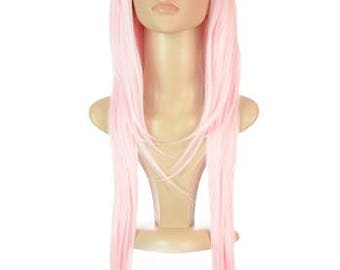 Extra Long Straight Pastel Pink Wig