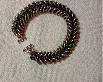 Black/Gold Aluminum Chainmaille Box Weave Bracelet