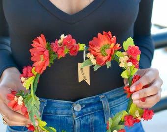 "The ""Marina"" floral halo crown // flower crown, orange and red wedding, country wedding, fall wedding headband, bridesmaid headband"