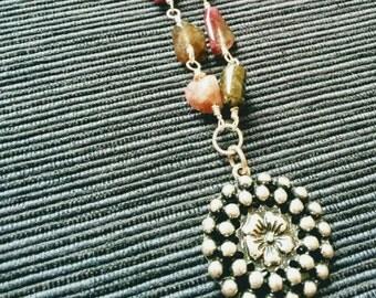 SALE! Tourmaline necklace with antique silver flower pendant. (N033)