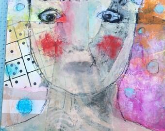 Mixed Media Portrait - Outsider Art - Mixed Media Woman - Home Decor Art - Outsider Portrait