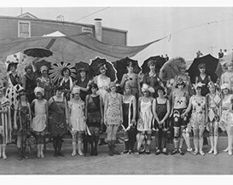 Bathing Beauties, Panoramic Photo, Photo, Black White Photography, Galvaston, TX, Wall Art, Flappers, Summer, Loft Art, Historical Print