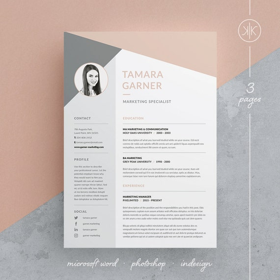 Tamara Resume/CV Template | Word | Photoshop | InDesign | Professional  Resume Design | Cover Letter | Instant Download  Resume In Indesign