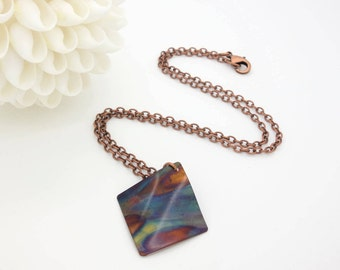 flame painted copper necklace flame painted pendant copper necklace copper pendant torch painted copper necklace fire torched copper