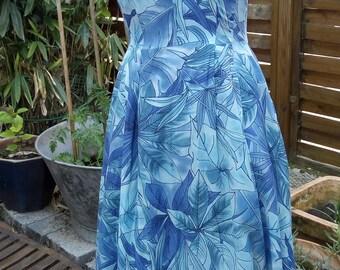 Blue summer dress jungle pattern