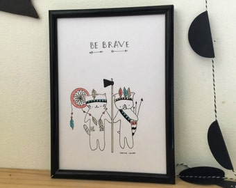 "Graphic poster for boy ""Choumi et Michou :be brave"" - graphic design poster."