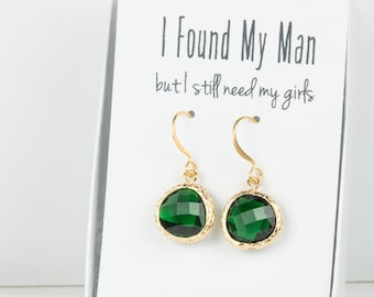 Emerald Gold Earrings, Gold Green Earrings, Emerald Wedding Jewelry, Bridesmaid Gift, Bridesmaid Earrings, Green Bridal Accessories