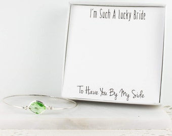 Peridot Silver Bangle, Bridesmaid Sterling Silver Peridot Bracelet, Green Silver Bracelet, Green Wedding Accessories, Bridesmaid Jewelry