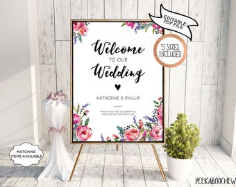 Wedding Welcome Sign Rose Garden Reception Greeting Personalized Editable Printable Welcome to Our Wedding Poster Board DIY Template PCGRWS