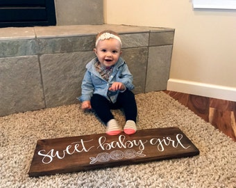 Sweet Baby Girl Sign (With Flowers) - Wood Sign   Baby Shower Gift   Maternity Gift   Nursery Sign   Hand Painted