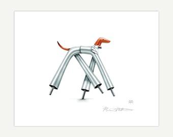 Stilts // dachshund art, dachshund lover gift, wiener dog illustration, giclée print, Miriam Martincic, MiriamDraws, circus