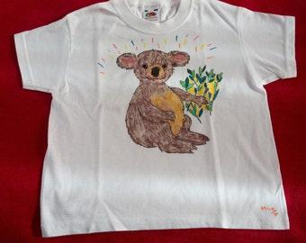 Kids T-Shirt 3 / 4 years, pattern hand-drawn, sweet koala, Animal