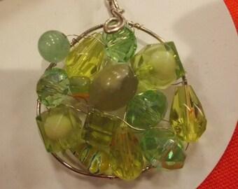 Green beaded pendant