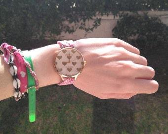 Wrist watch. Women Watch.  Fabric watch. Original watch. Watch in pink.