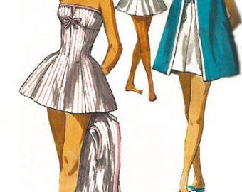"""Vintage 1950's Sewing Pattern Pleated Glamour Skirted Bathing Suit Beach Coat Pin Up Bust 34"""""""