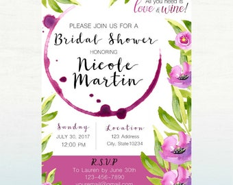 Love and Wine Bridal Invitation, PRINTABLE Bridal Shower Invite, All you need is Love and Wine, 5x7 DIGITAL FILE