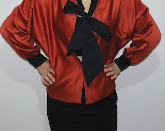 80s Vintage Soft Shirt With Attached Black Ribbon