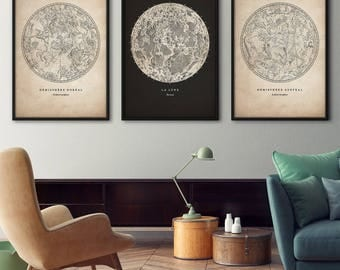 Antique astronomy print set, Star map print, Star chart print, Constellation art, Constellations chart, Moon print, Nautical decor, Wall art