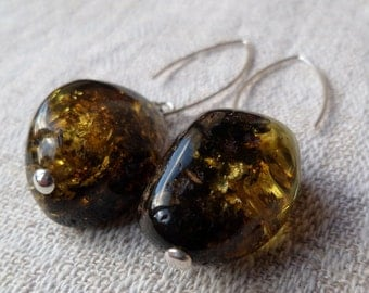 Genuin Baltic Amber Amazing Big Green Glittering Earrings 925 Sterling Silver Solid