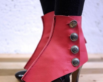 Real Leather Spats - Red - Steampunk, victorian, cosplay, costume, please read description for more information