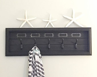 Handmade Black Wooden Entryway Decor - Coat Rack - Towel Rack  -Wall Coat Rack - Key Hanger - Office Decor - Beach House