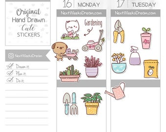 37 Stickers (Mini) - Gardening Set Planner Stickers, Gardening Theme Tools Planner Sticker, Watering Plants Cat Dog - NextWeeksDream SMS02