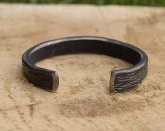 Stainless oxide chisel cut cuff bracelet