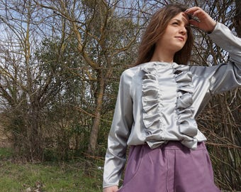Pearl Grey blouse with Ruffles