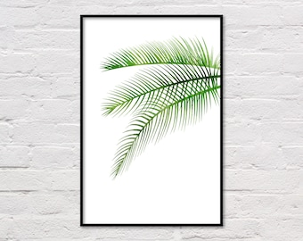 Palm Leaf Print, Tropical Print, Botanical Wall Art, Palm Leaf Printable, Palm Art Print, Botanical Art, Green Plant Print, Digital Download
