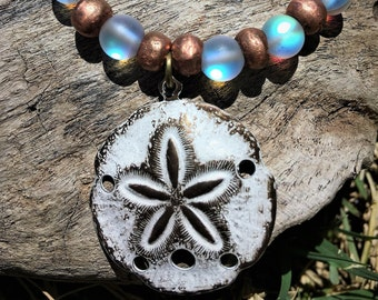 Copper, moonstone and sand dollar beaded bracelet. beach wedding, brides maid gift, vacation jewelry.