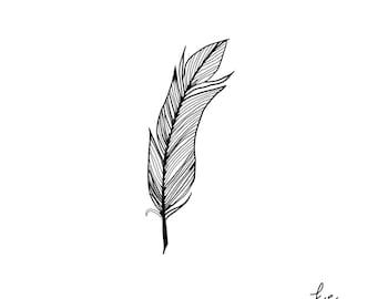Large Hand drawn Feather Brush for PROCREATE app on IPAD PRO