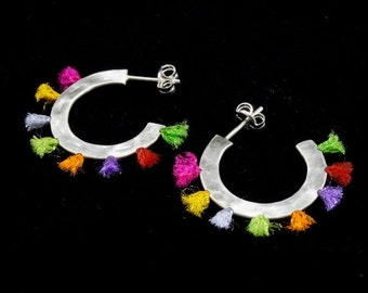 Color Silver Hoops, hoop earrings,  hammered silver, sterling silver, color strings, handmade, jewelry for her, gift