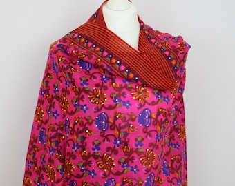 Floral Pink Scarf with Swarovski Crystals, Wool Shawl, Spring Winter Shawl, Scarves For Women, Scarves UK, Gift For Her, Handmade, Accessory