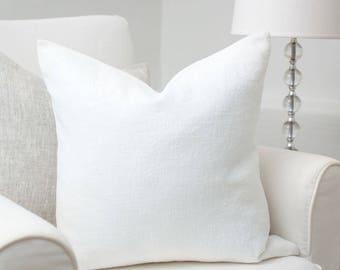 White luxury linen pillow / White stonewashed linen pillow / white decorative linen pillow cover / stonewashed linen cushion /linen pillows