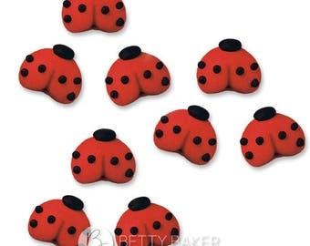Small Ladybird Sugar Decorations - Cupcake, Cake and Cookie Sugar Decorations. Edible Cake Toppers. Pack of 12.