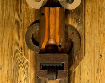 Striking Wooden Folk Art Head / mask