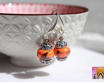 Orange Handmade Porcelain Earrings-Dangle Earrings-Drop Earrings-Handmade Earrings-Boho-Yoga Jewellery-Free Shipping Worldwide