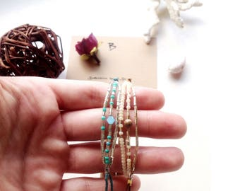 bracelet by white gold/silver bugles and beads with jasper stone/matt crystal