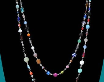 Colorful mixed bead necklace