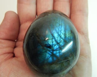 "Labradorite Crystal Egg + Stand w/Color Flash Stone 2.25"" 162g (ELE1)"