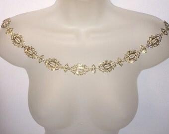Shoulder necklace. Bridal wedding jewellery. Deco inspired crystal shoulder chain.